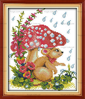 Мышка под грибком, набор с нитками для вышивки, D115