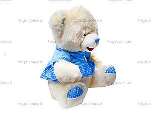 Музыкальный плюшевый медведь в платье, 396935, фото