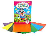 Набор цветного картона А4 (односторонний), 7 л. (3 шт в упаковке), КК-А4-7, игрушки