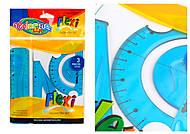 Набор линеек, гибкие (линейка 15 см, транспортир, угольник) COLORINO, 91930PTR, toys