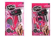 Парикмахерский набор для девочек с феном 2 вида (розово-черный), 4026