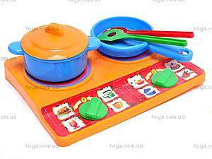 Набор детской посуды, с плитой, 04815