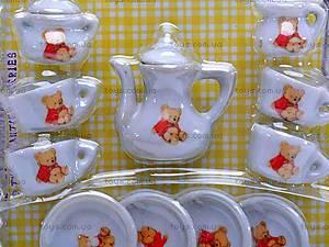Набор фарфоровой посуды с чайником, 005B, игрушки