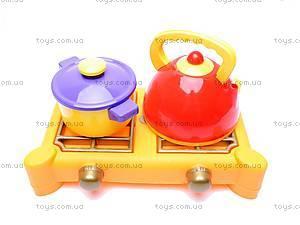 Набор игрушечной посуды, с плитой,