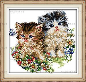 Набор «Котята и цветы» для вышивки мулине, D190