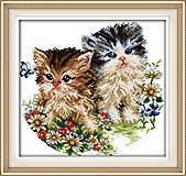 Набор «Котята и цветы» для вышивки мулине, D190, фото