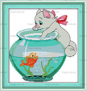 Набор «Котик и рыбка» с нитками мулине, D193