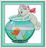 Набор «Котик и рыбка» с нитками мулине, D193, фото