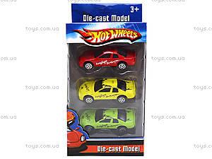 Набор металлических машин Hot Wheel, 3 штуки, 912-6, детские игрушки