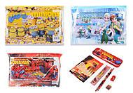 Набор канцтоваров с пеналом в сумке-косметичке, 5 видов, 3000, игрушки