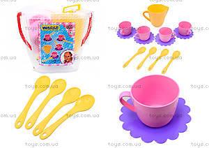 Детский набор посуды в ведерке, 22010