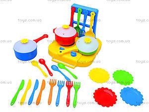 Набор посуды «Ромашка» с плитой, 39153, магазин игрушек