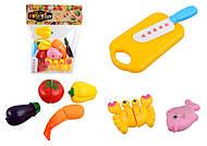 Набор продуктов на липучках, с доской и ножом, 9005-6, фото