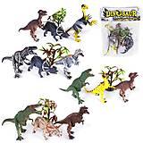 Набор резиновых динозавров, 3 фигурки 4 вида, RN532-3