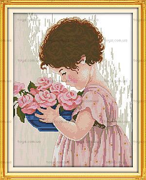 Набор с нитками «Девочка с цветами», R509