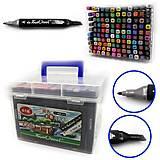 Набор скетч маркеров скошенные+тонкие 120 цветов в чемодане, 0229-120, детские игрушки