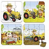 Набор из 4 пазлов Janod «Питер и его трактор», J02886