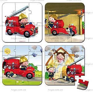 Набор пазлов «Пожарник», 4 штуки, J02882, купить
