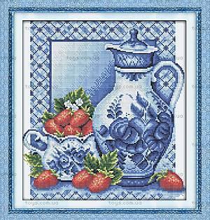 Натюрморт с клубникой, картина для вышивки, J045