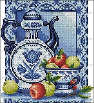 Натюрморт с яблоками, набор для вышивки, J045(1)