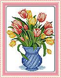 Нежные тюльпаны, вышивка картины крестиком, H335, фото