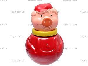 Неваляшка «Поросенок в кепке», большая , 01602, toys.com.ua