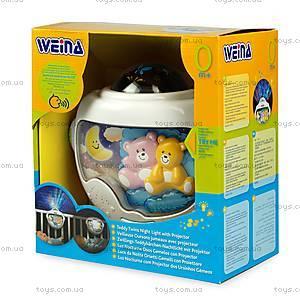Ночной светильник с проектором Weina «Двойняшки Тедди», 2129