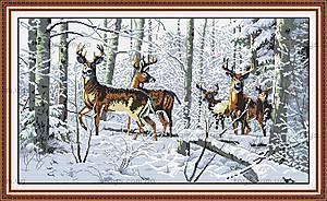 Олени в лесу, вышивка крестиком, D003
