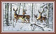 Олени в лесу, вышивка крестиком, D003, фото