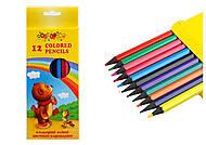 Карандаши 12 цветов пластиковые , 7223, игрушки