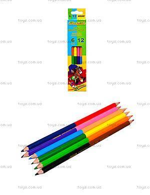 Цветные карандаши Marco «Пегашка», 12 цветов, 1011-6CB