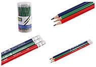 Карандаш графитовый НВ, ассорти, с резинкой (100шт в упак), BM.8501, детские игрушки