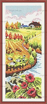 Осенний пейзаж с нитками для вышивки, F069