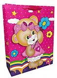 """Пакет картон """"Мишка с цветочком""""  6шт в упак, 3142, фото"""