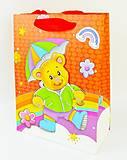 """Пакет картон """"Мишка с зонтиком"""", 6шт в упак, 3144, набор"""