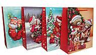 """Пакет картон """"Новогодние мишки"""" 4 вида (6 шт в упак) красные, 7166, игрушка"""