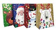 """Пакет картон разноцветный """"Новогодние персонажи"""" 4 вида (6 шт в упак), 7154, оптом"""