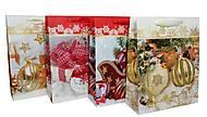 "Пакет картон ""Новогодние игрушки"" микс 4 вида (6 шт в упак), 7170, іграшки"