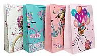 """Пакет картон """"Велосипед с цветами"""" МИКС 4 вида (4шт в упак), 1284, детский"""