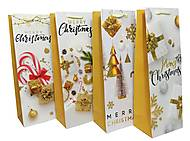 """Пакет картон высокий """"Merry Christmas"""" 4 вида (6 шт в упак), 7135, оптом"""