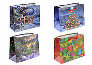 """Пакет подарочный """"Новогодний""""с разными  картинками (12 штук), АРС1989-2004-2016-2008, опт"""
