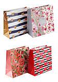 Пакет подарочный бумажный (4 шт. в упаковке) ассорти, PB-16х16х7-LD, купити