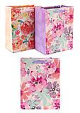 """Пакет бумажный с глиттером """"Акварельные цветы"""", 8298-S, цена"""