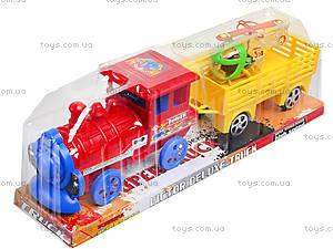 Инерционный паровоз с вагоном, 2028, игрушки