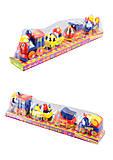 Паровозик с вагончиками-машинками, 18008E, игрушки