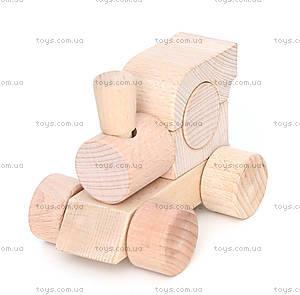 Детский деревянный игрушечный паровозик, Ду-01а