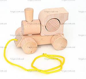 Детский деревянный игрушечный паровозик со шнурком, Ду-01н
