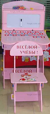 Парта и стул «Веселой учебы», розовые, W037 UA PINK