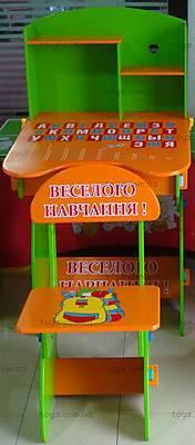 Парта с полочками и стул «Веселой учебы!», W035 UA BLUE-
