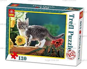 Пазл на 130 деталей «Котёнок в цветах», 82004